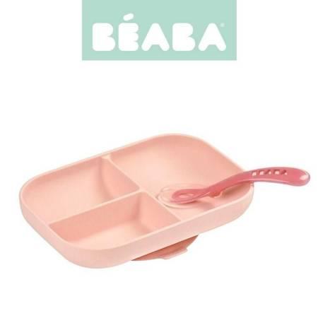 Beaba - Komplet naczyń z silikonu różowy