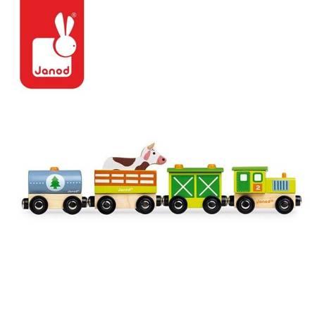 Janod - Farma pociąg drewniany magnetyczny