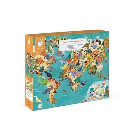 Janod: Puzzle edukacyjne z figurkami 3D Dinozaury